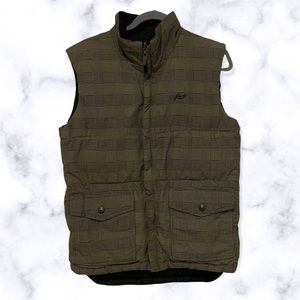 Roots puffer vest small houndstooth tan black reversible zip up pockets mens